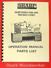 SHARP 1540S 1560S Metal Lathes Operator's & Parts Manual 0896