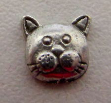 charm for living glass floating locket, silver kitty cat face
