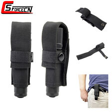 Tactical Nylon Torch Light LED Flashlight Holster Pouch Bag w/ Belt Clip Black