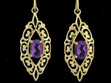 E087 - Ornate Genuine 9ct Solid Gold NATURAL Amethyst Filigree Drop Earrings