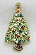 VTG ART Signed Fruit Salad Rhinestone Holiday Christmas XMAS Tree Brooch Pin