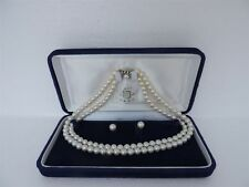 JAPANESE AKOYA PEARL NECKLACE W SILVER CATCH & 18K GOLD EARRINGS SET BOX  JAPAN