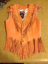 Ladies Bike Native American Indian Leather Vest w/ fringe & beads 12