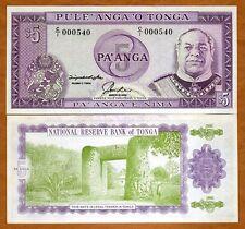 Tonga, Kingdom, 5 Pa'anga, ND (1992-1995) Pick 27, UNC   Scarce, Low S/Ns