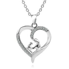 Mom & Baby Daughter Son Child In Heart Crystal Silver Necklace Mother's Day Gift