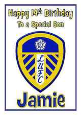 Leeds United football personalised A5 birthday card son brother nephew name age
