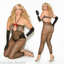 PLUS SIZE LINGERIE One Size Queen Black Crochet Bodystocking  EM8590Q
