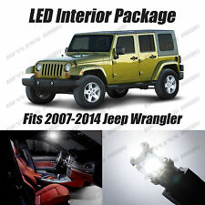 8pc LED White Lights Interior License Package Kit For Jeep Wrangler JK 2007-2014