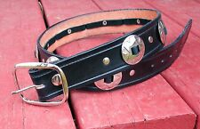 "HANDMADE 1 1/2"" WIDE 32"" BLACK LEATHER BELTS WITH CONCHOS AND ATTACHED BUCKLE."