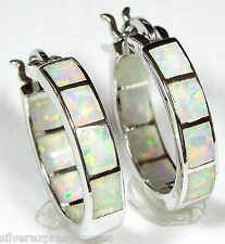"Hoop Earrings with White Fire Opal Inlay 925 Sterling Silver 5/8"" Wide or 16mm"
