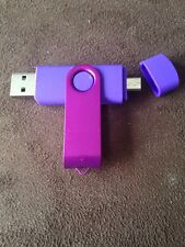 Purple 8GB USB 2.0 and micro usb Flash Pen Drive Memory Stick Rotary Thumb Key
