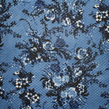 SALE!!! Diamond Quilted Denim Floral Print Cloqué Jersey Dress Fabric Material