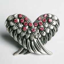 VINTAGE THRIFT STYLE DECO SILVER ANGEL WINGS DIAMANTE STATEMENT GEEK RING