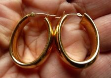 Estate 14K GOLD Oval HOOP Earrings For Pierced EARS 2.9 GRAMS