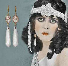 "~VTG 20's ART DECO ""EGYPTIAN REVIVAL"" MILK GLASS SCARAB DANGLE EARRINGS!~~"