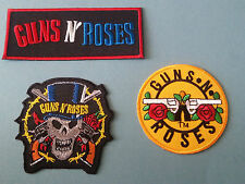 SET OF THREE MUSIC SEW/IRON ON PATCHES:-  GUNS N ROSES