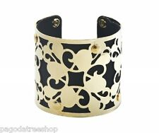 New Suedette Fabric & Gold Metal Cuff Bangle in Black or Blue or Beige or Red