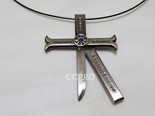 NEW One piece Dracule Mihawk's cross shape knife & scabbard pendant!Gray color!