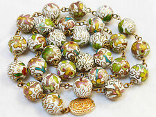 CHINESE VINTAGE STERLING SILVER CLOISONNE ENAMEL BEADS NECKLACE