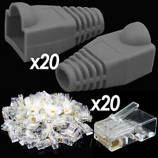 20x RJ45 Cat5e Cat6e Network Cable Grey Boots + 20x Ethernet Lead End Connectors