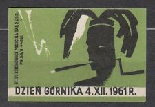 POLAND 1961 Matchbox Label - Cat.Z#272 The Miners' Day 4.XII.1961