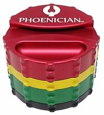 Phoenician Herbal Grinder - Large 4 Piece w/ Papers Holder - Rasta