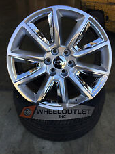 "22"" Wheels Silver Chrome Rims Fit Chevy Silverado Tahoe Suburban Avalanche GMC"