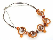 Zest Loop & Bead Rope & Chain Necklace Brown Mix