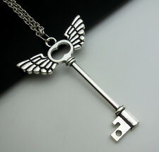Free Simple Tibetan Silver Angel wings Keys Lucky Pendant Charm Necklace Gift