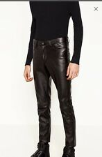 ZARA MAN SYNTHETIC LEATHER TROUSERSVWITH ZIPS PANTS SIZE 32