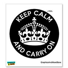 Keep Calm and Carry On - Circle - Black - Window Bumper Locker Sticker