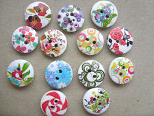 50 pcs Mixed  Patterned Wood  Scrapbooking // Sewing Buttons   15mm   B