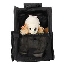Pet Carrier Dog Rolling Backpack Travel Wheel Luggage Bag Stroller Black