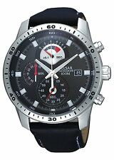 HD PS6027X1 Pulsar Mens Gents Chronograph Leather Strap Sports Watch