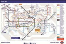 LONDON METRO map poster COLLECTIBLE the underground 24X36 HIP WALL ACCENT