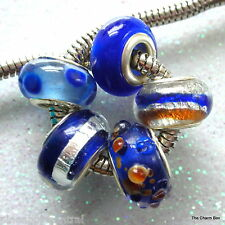 Set of 5 Petite Blue/Silver Foil Murano Glass European Charm Beads-Dual Core