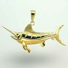Blue Marlin Charm Pendant  in 14k Solid Yellow Gold Nautical Charm