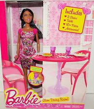 BARBIE GLAM DINING ROOM, BARBIE DOLL CHAIRS TABLE 10 PIECES, CLOTHES ACCESSORIES
