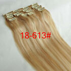 """New Clip In Real Remy Human Hair Extensions Full Head 15""""7PCS Straight #18/613"""
