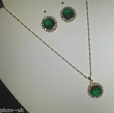 SEB84 Emerald jewellery set with Swarovski Elements,gold fill necklace,earrings