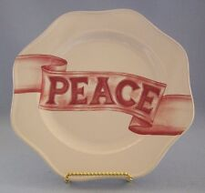 """Food Network Scalloped Edge Salad Plate Peace Red White 9"""" New"""