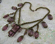 "Antique Vintage Festoon Drippy Molded Purple Glass Rolo Brass 17"" Czech Necklace"