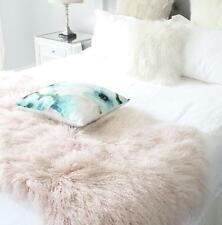PINK REAL TIBETAN FUR MONGOLIAN LAMBSKIN SHEEPSKIN BED THROW BLANKET NURSERY RUG
