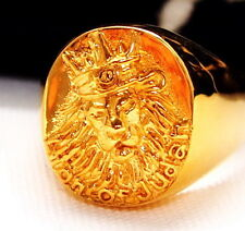 AWESOME GOLD RING LION OF JUDAH Rastafari Ethiopia Africa Jamaica Ganja Selassie