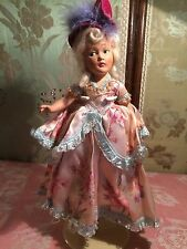 """UNMARKED VTG 11"""" COMPOSITION MARIE ANTOINETTE COSTUME DOLL WHITE WIG HAT SHOES"""