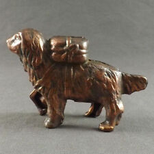 Antique Cocker Spaniel Old English Cast Iron Copper Metal Coin Figurine Dog Bank