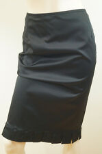 KYRI LONDON Black Satin Sheen Evening Pleated Hemline Wiggle Pencil Skirt UK12