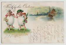POSTCARD - easter greeting, children in eggs, early art chromo, posted 1899