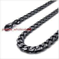 8mm 24'' Men's Jewelry Stainless Steel Cuban Curb Link-chain Necklace Black Tone