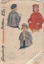 Vintage Girls Coat or Topper and Beret Sewing Pattern S3147 Size 10